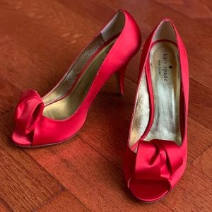 Kate Spade Red Satin bow heels 9.5